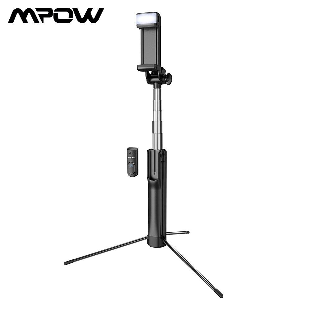 Mpow 2 em 1 Bluetooth Selfie Vara Tripé Com Luz de Preenchimento Controle Selfie Vara Do Bluetooth Controle Remoto Sem Fio Para Smartphone