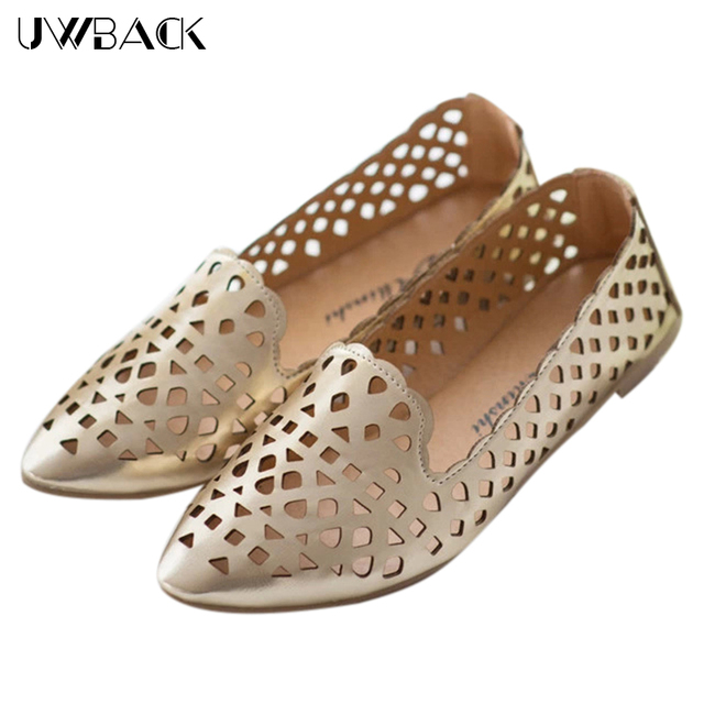 4228f31c1697 Woman Shoes Spring Summer 2016 Golden Casual Golden Sliver Hollow Out Shoes  Flats KJ032