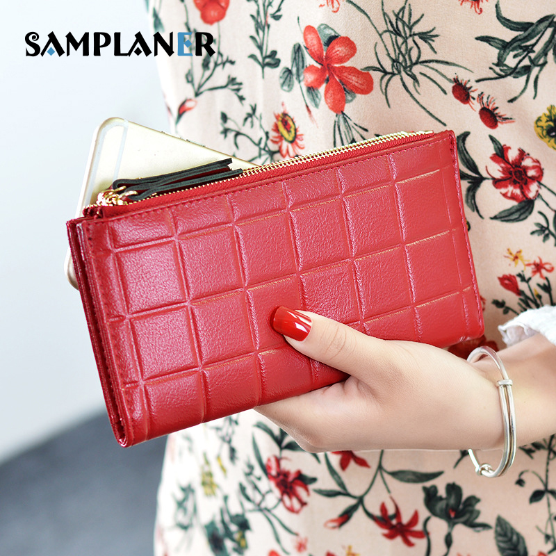 Samplaner Double Zip Women Wallets with Phone Holder Leather Wallet RFID Long Purse Plaid Organizer Wallets Female Clutch Purses
