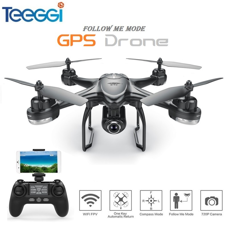 Teeggi S30W Double GPS RC Drone Dynamic Follow FPV Quacopter With 1080P Wide Angle Camera Professional Dron VS SYMA X8 Pro X8pro mini drone rc helicopter quadrocopter headless model drons remote control toys for kids dron copter vs jjrc h36 rc drone hobbies