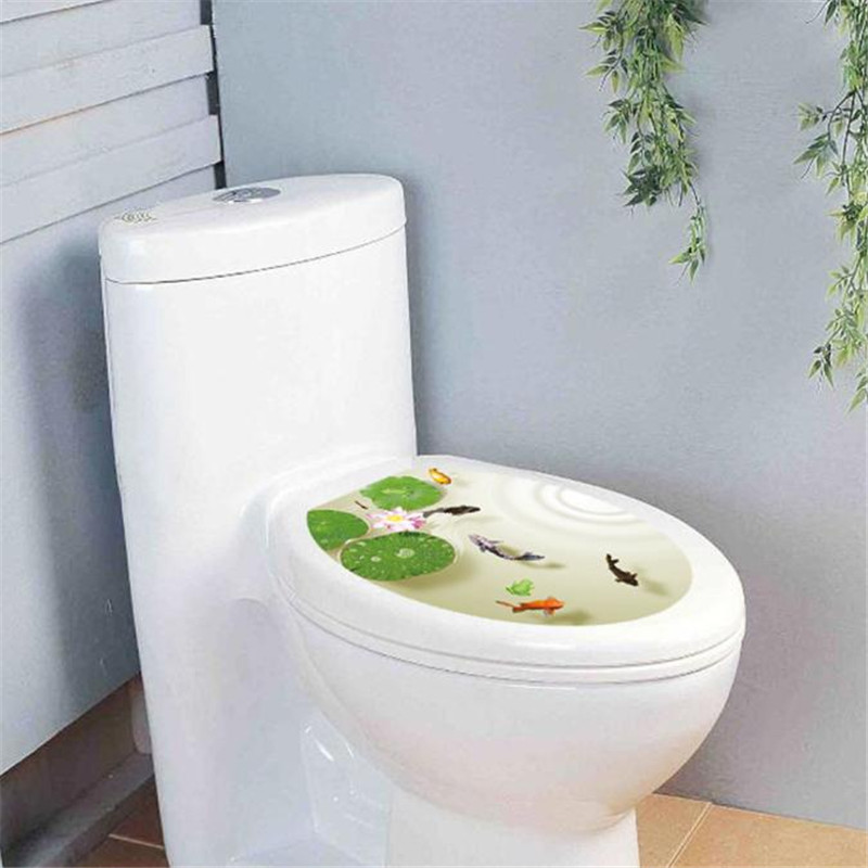 1pc new design removable toilet lid sticker Fish&Lilypad pattern toilet seat cover wall sticking poster sticker on sale