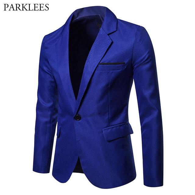 Casual azul traje Blazer hombres Slim Fit hombres Color sólido Blazers  chaquetas un botón vestido trajes 70708783583