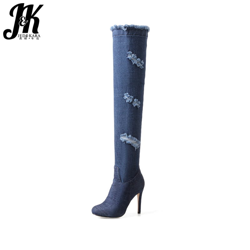 JK Denim High Heels Women Boots Over The Knee Zipper Holed Round Toe Thin Heels Footwear Spring Fashion Ripped Ladies Shoes gladiator shoes denim thigh high boots women boots 2017 winter shoes over the knee fashion pointed toe thin heels mixed colors