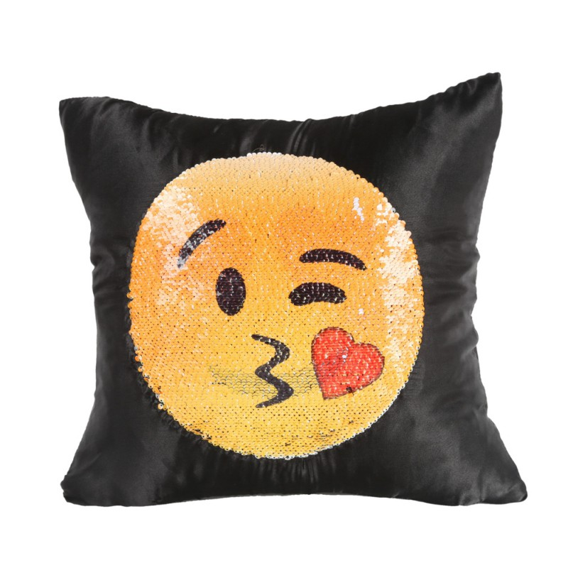 Wholesale Supply Two Sided Expression Sequins Pillowcase Changing Face Emoji Pillow Case household
