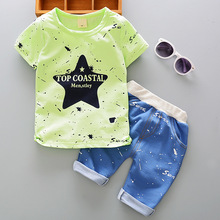 DIIMUU 2PC Summer Toddler Baby Boys Kids Children Casual Clothes Clothing Printed Outfits Suits Sets T-shirt + Short Pants summer children baby boys cartoon clothes sets kids character short sleeve shirt ninjago printed clothing sets child sport suits