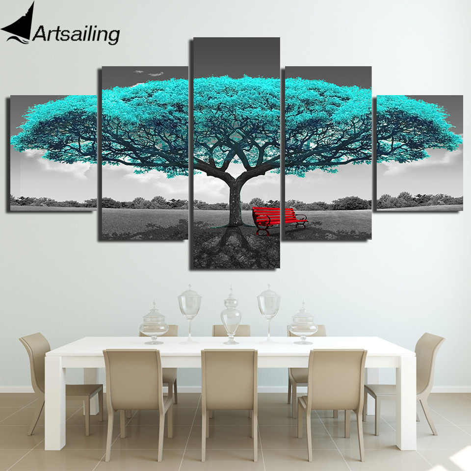 ArtSailing HD Printed 5 Piece tree Paintings Wall Pictures for living room Modular pictures Home Decoration print modern art