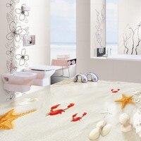 Бесплатная доставка пользовательских Самоклеящиеся украшения дома пол гостиная росписи обоев пляж песок 3D пол украшения живопись