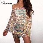 Tobinoone Sexy Off Shoulder Summer Dress 2018 Sequin Tassel Bodycon Dresses Backless Women Sexy Club Dress Party Vestidos