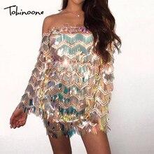Tobinoone font b Sexy b font Off Shoulder Summer font b Dress b font 2018 Sequin