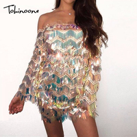 Tobinoone Sexy Off Shoulder Summer Dress 2019 Sequin Tassel Bodycon Dresses Backless Women Sexy Club Dress Party Vestidos