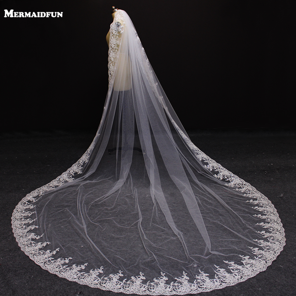 Реальные фотографии, роскошные кружевные края 3 метров, свадебная Фата с расческой, красивая вуаль 3 м, свадебные аксессуары