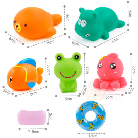 Baby Bath Toys Kids Swimming Water Toys Bathroom Colorful Soft Floating Rubber Animal Squeeze Sound Squeaky Bath Toy Organizer Islamabad