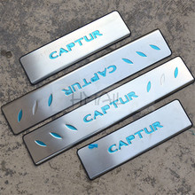 Stainless steel door sill strip for RENAULT CAPTUR 2014 2015 exterior Threshold trim car styling welcome pedal Scuff plate film stainless steel sill strip for k ia k2 car styling exterior accessories window trim
