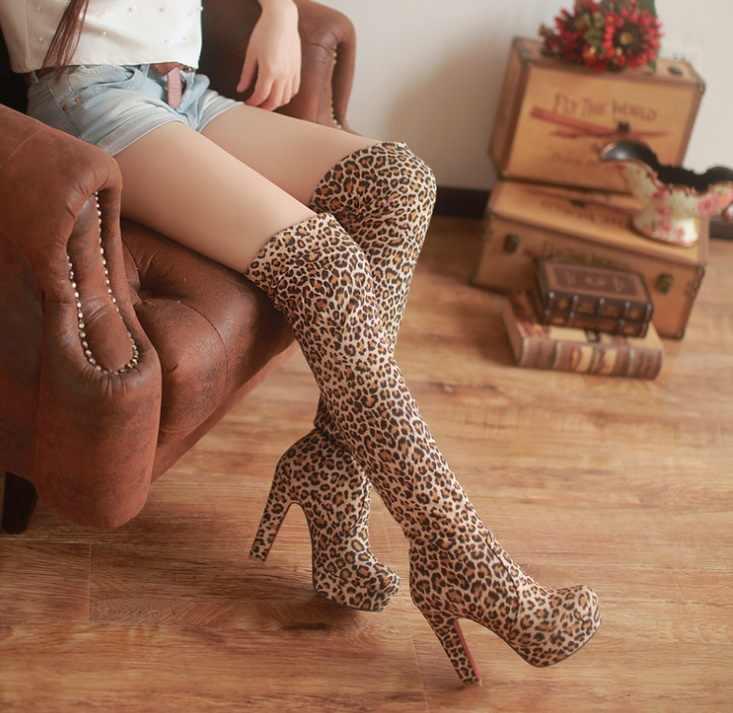 Kadınlar Yüksek Topuklar Üzerinde Kayma Diz Seksi Uzun Çizmeler Kadın Platformu Ayak Bileği Patchwork Akın Iki Yönlü Giyim Artı boyutu 35-43