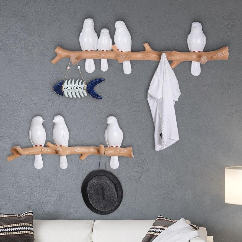 Petits oiseaux décoration cintre Pothook tenture murale résine chapeau manteau crochet mur rangée crochet salon porche chambre vêtements-crochet