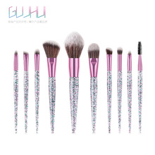 10pcs Rhinestone Crystal Glitter Makeup Brushes Set Soft Synthetic Foundation Brushes Blending Concealer Make Up Brush Set