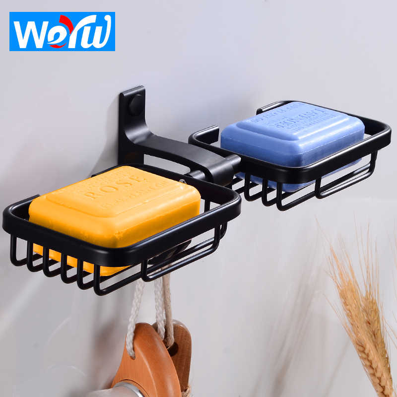 Bathroom Soap Holder Wall Mounted Black Double Soap Dish Storage Holder Aluminum Decorative Soap Dishes Box with Hooks