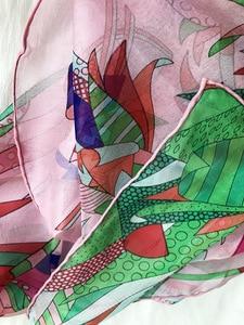 Image 3 - 2018 new style women summer silk scarf flower print large shawl