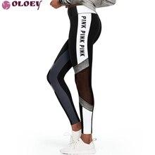 2019 moda imprimir letras VS Rosa Legging mujeres cintura alta Slim Fitness Leggings pantalones de entrenamiento aventura tiempo Pantalones