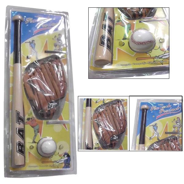 Baseball Set For Kids 63cm Wood Baseball Bat Pvc Ball Softball Glove