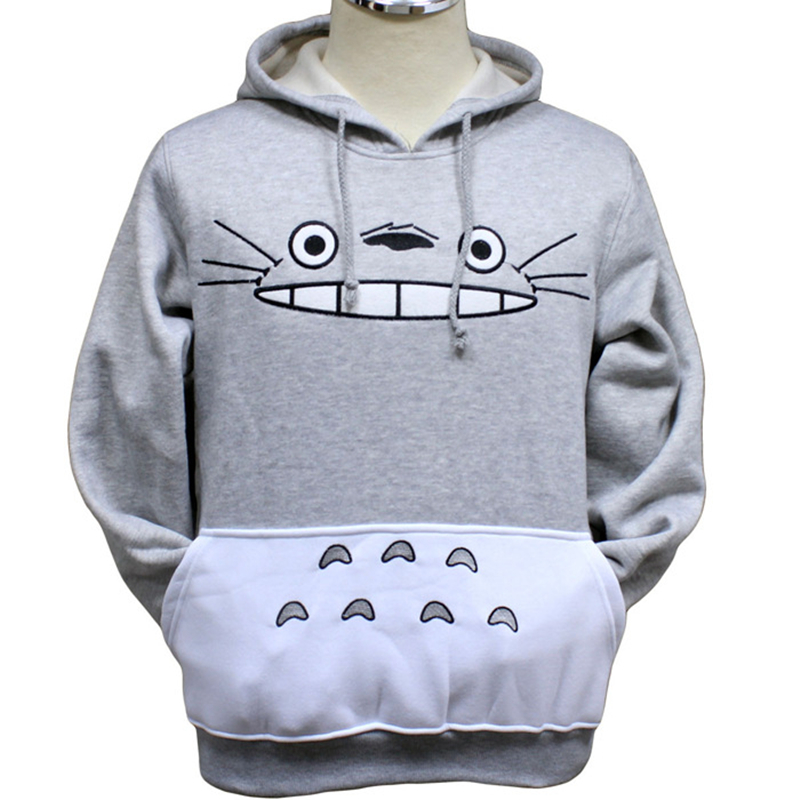 Japanese Anime My Neighbor Totolo Sweatshirts Fashion Long sleeve with hat men Women Hoodies Cartoon Brown Cat Hooded Pullover