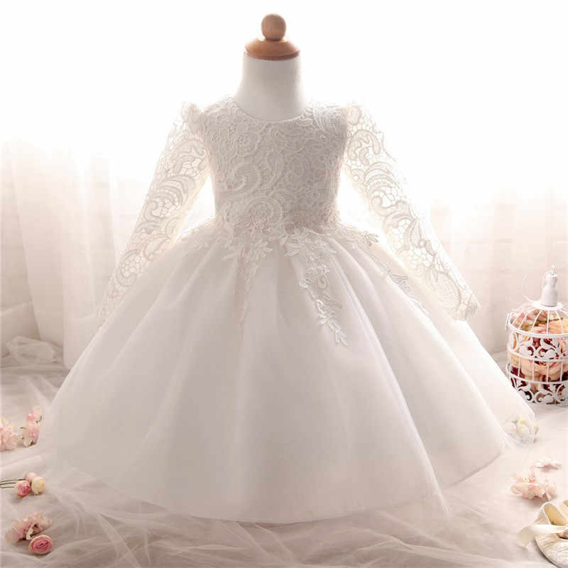b84300b5d0e39 Kids Dresses for Girls 2018 Winter Lace Flower Baby Dress Long Sleeve  Children Princess Party costume Wedding Frocks for Bebes