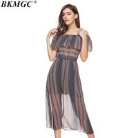 BKMGC Chất Lượng Cao Casual Sọc Nữ Dresses 2017 Phong Cách Mới Ngắn bướm Tay Áo với Slash Cổ ML XL XXL Kích Thước Quần Áo