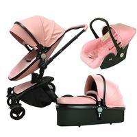3 в 1 европейский бренд Роскошные из искусственной кожи Детские коляски зрения Коляски складной автомобиля Poussette прогулочная коляска с спал