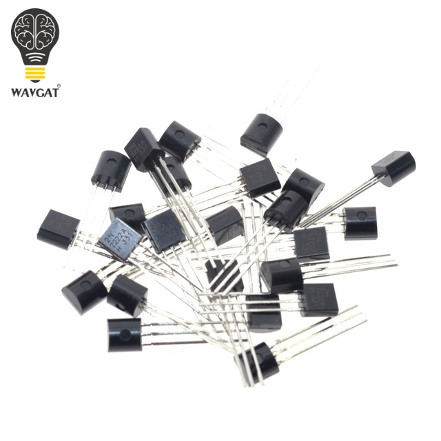2N2222A Free shipping 100pcs in-line triode transistor NPN switching transistors TO-92 0.6A 30V NPN 2N2222 1