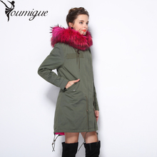 YOUMIGUE 2017 new long Camouflage winter jacket coat women parka natural large Raccoon Dog Fur Collar hooded Thick Warm faux Fur