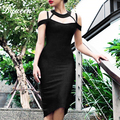 Bqueen 2017 New Hollow Out V-Neck Spaghetti Strap Bandage Dress