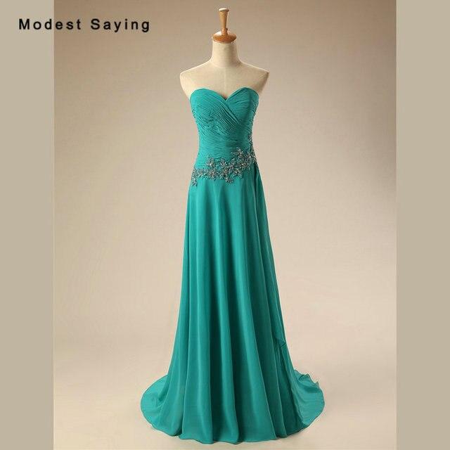 4dc9ea521b9ac5 Elegante Turquoise A-lijn Sweetheart Kralen Plisse Avondjurken 2017 Formele  Vrouwen Chiffon Party Prom Jassen