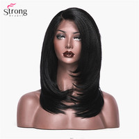 StrongBeauty Synthetic Lace Front Wigs for women Black Long Yaki Straight Layered Wig African American