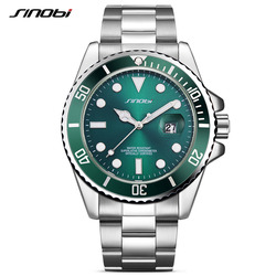 SINOBI Famous Brand Watch Clock for Men Man Green Rotatable Bezel Quartz Wristwatch Stainless Steel Strap Relogio