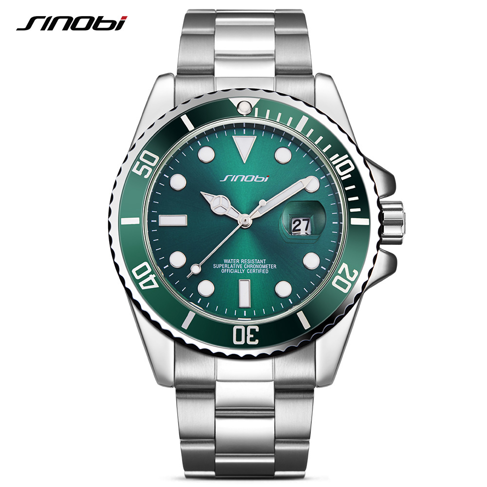 SINOBI Famous Brand Watch Clock for Men Man Green Rotatable Bezel Quartz Wristwatch Stainless Steel Strap Relogio skone 5051 luminous pointers quartz watch men rotatable bezel wristwatch