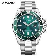 60a1f1ea9c0 Relógio de SINOBI Famosa Marca Relógio para Homens Homem Verde Bezel  Rotativo Alça Aço Inoxidável Relógio
