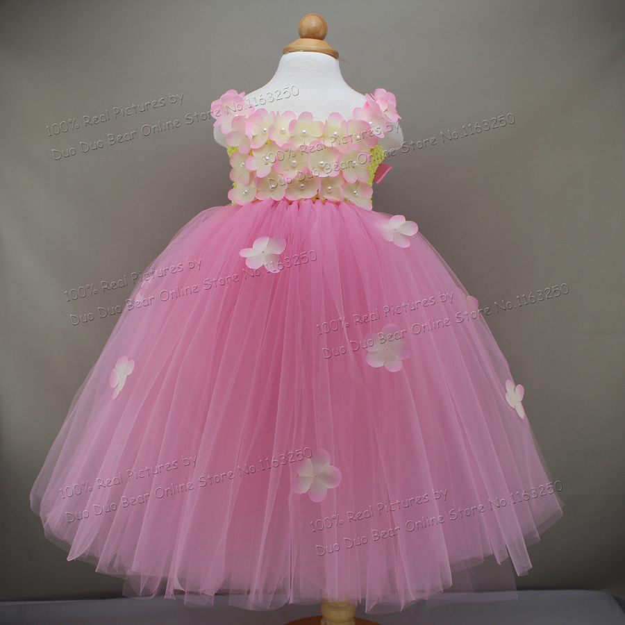 ed765578a90fd Beautiful Flower Tutu 2 1 Year Girl Baby Birthday Dress Infant Princess Wedding  Party Kids Clothes Girls Baby Birthday Dresses