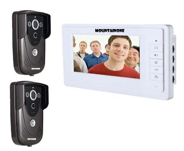 MOUNTAINONE 7Colorful Video Door Phone Doorbell Intercom Kit IR Night Vision Camera Monitor for Home Security 2cameras+1monitor