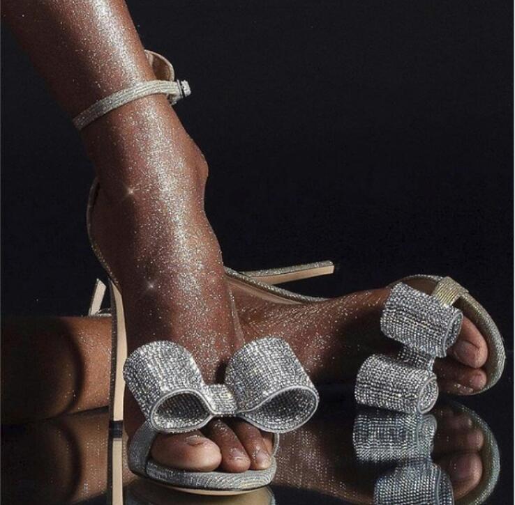 Trendy Silver Crystal Studded Bowtie Stiletto Heel Wedding Shoes Bride Covering Open Toe Dress Sandals Gladiator Sandals Women - 3