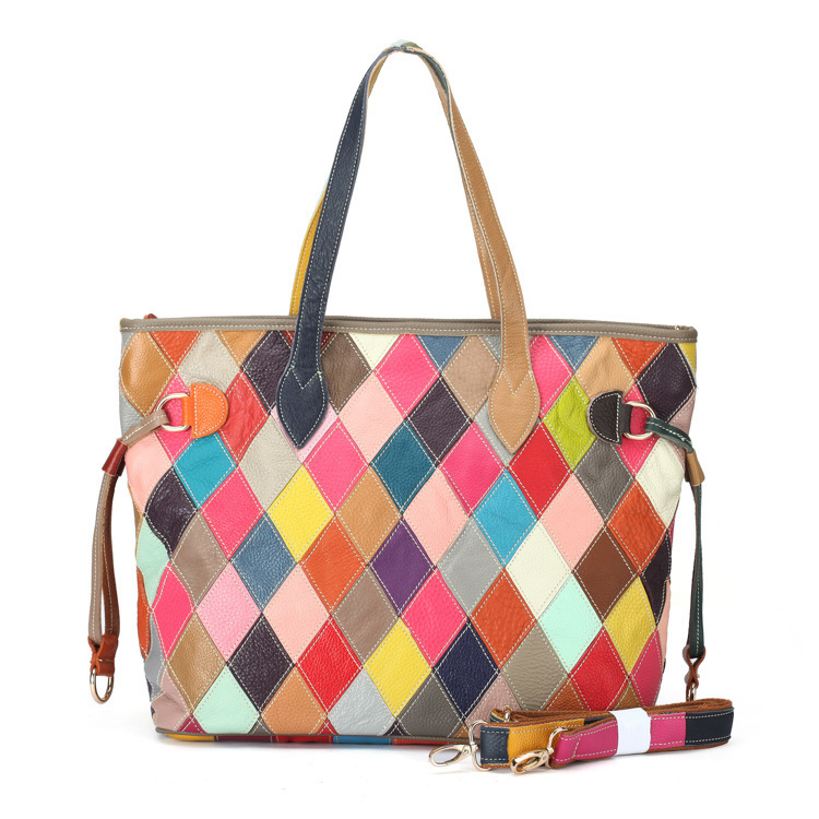 Genuine Leather Luxury Designer Top Handle Handbags Colorful Patchwork Cowhide Women Tote Shoulder Bag Lady Crossbody