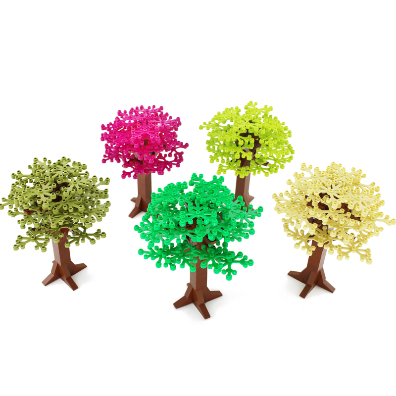 16.5cm Legoinglys Tree Plant Accessories Grass Parts Building Blocks MOC Scene Bricks Model Educational Toys For Children