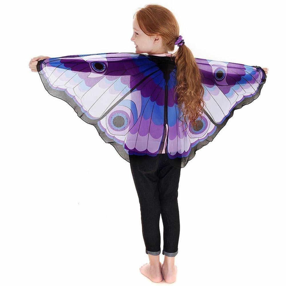 Модный детский комплект для маленьких девочек, шарф в богемном стиле бабочка шаль с принтом пашмины платок костюм аксессуар и накидки # H20