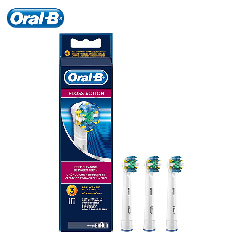 Oral B Toothbrush Heads Floss Action braun Oral B brush Heads Replacement Electric Brush Oral B BEB25 3 Pieces цена 2017