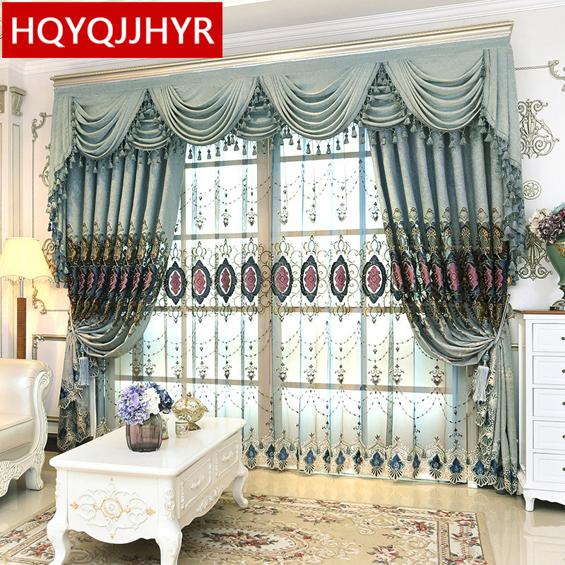 High Window Curtains: Royal Luxury European Embroidery High Shade Curtains For
