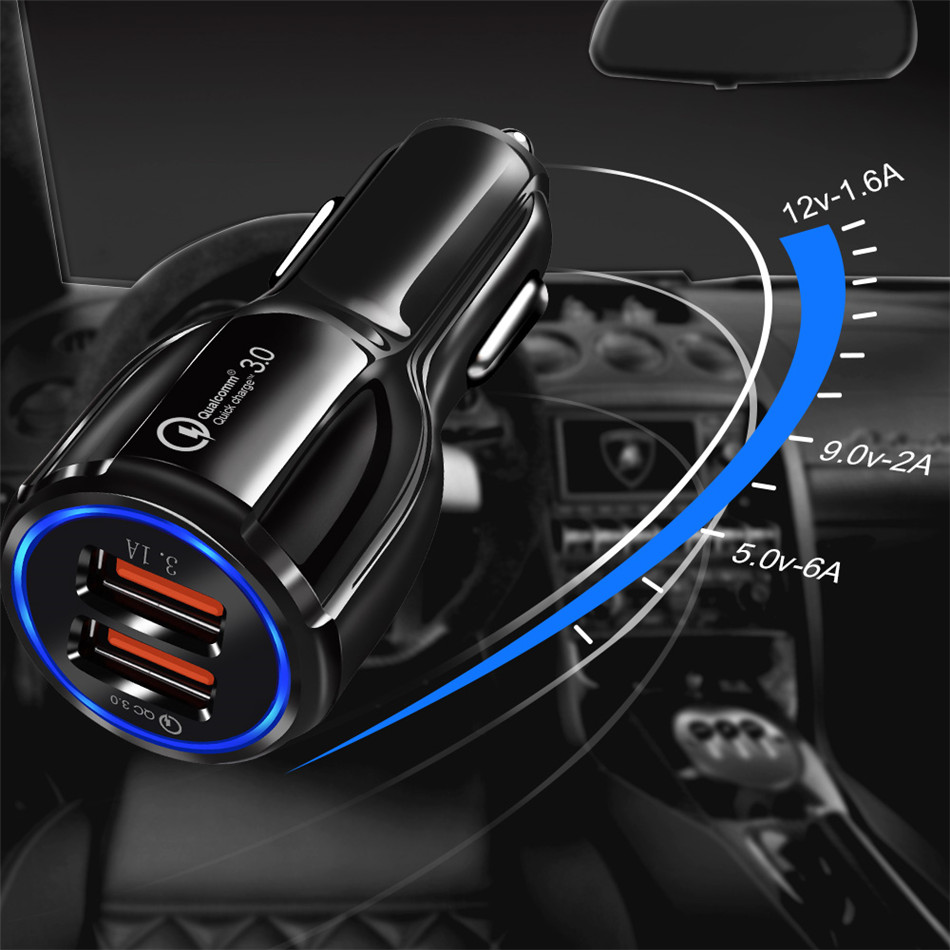 HTB1HT7PXvfsK1RjSszgq6yXzpXav - Olaf Car USB Charger Quick Charge 3.0 2.0 Mobile Phone Charger 2 Port USB Fast Car Charger for iPhone Samsung Tablet Car-Charger
