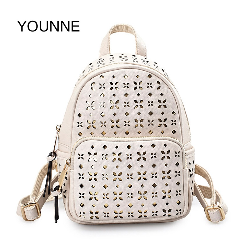 YOUNNE Women Hollow-Out Backpack Female Solid Color Fashion Backpack Teenage Backpacks For Girls Casual Daily Shouder School Bag fashion solid women backpack high quality leather backpack female daily backpack for teenage girls schoolbag leisure daypack sac