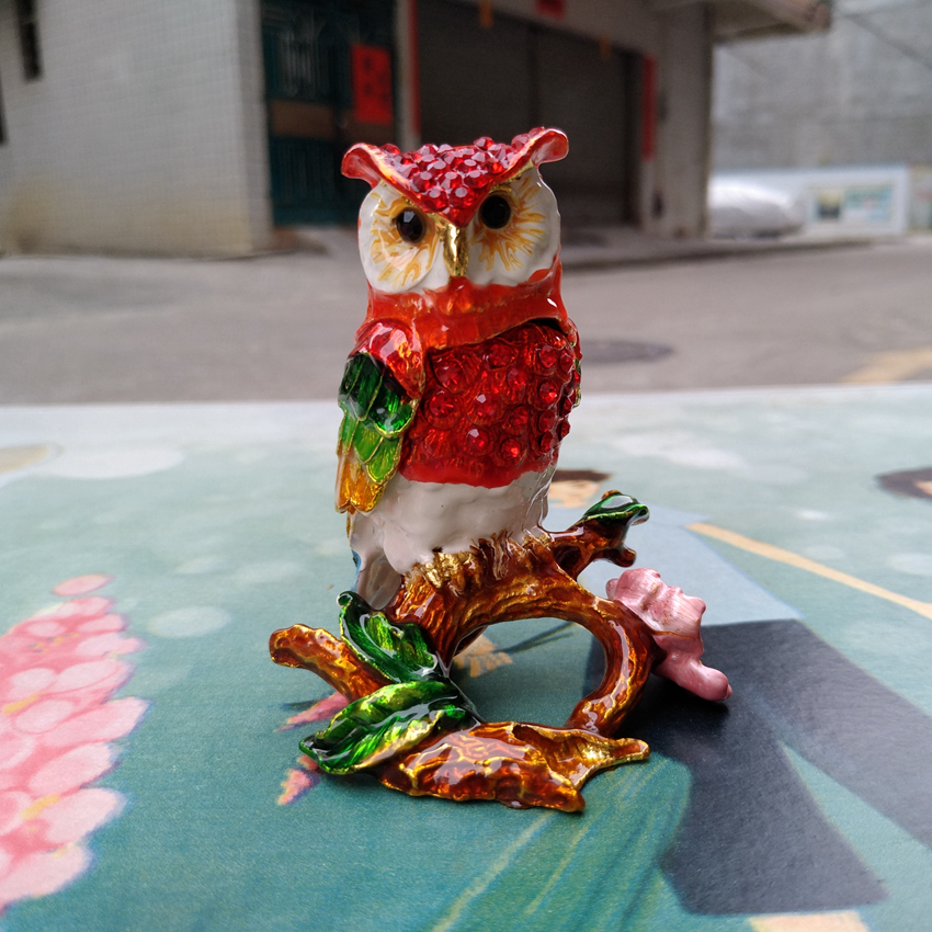 European Chinese style Metal enamel painted crafts Branch owl, home decoration desktop ornaments(A518)