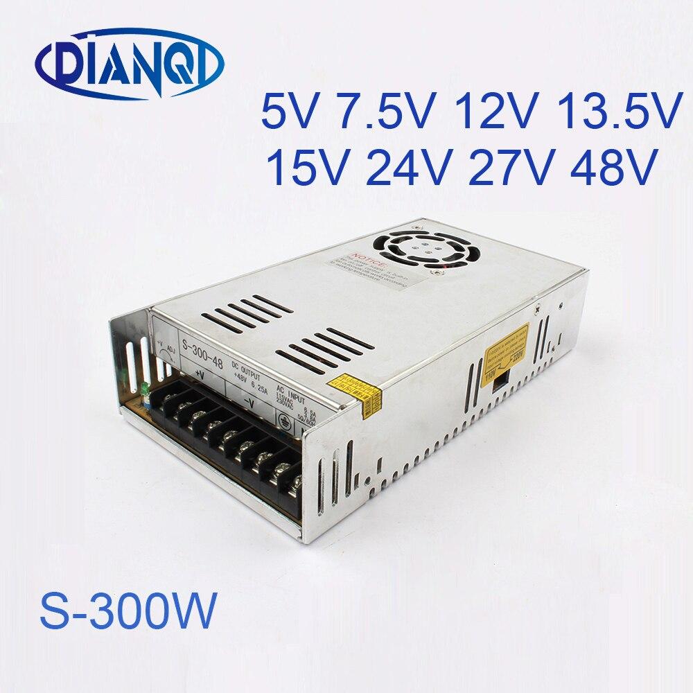 S-300-48 power suply 48v 300w ac to dc power supply ac dc converter switch adjustable output 5V 12V 13.5V 24V 27V 15V 7.5V s 50 5 power suply 50w 5v 10a power supply unit ac to dc power supply ac dc converter switch adjustable output voltage
