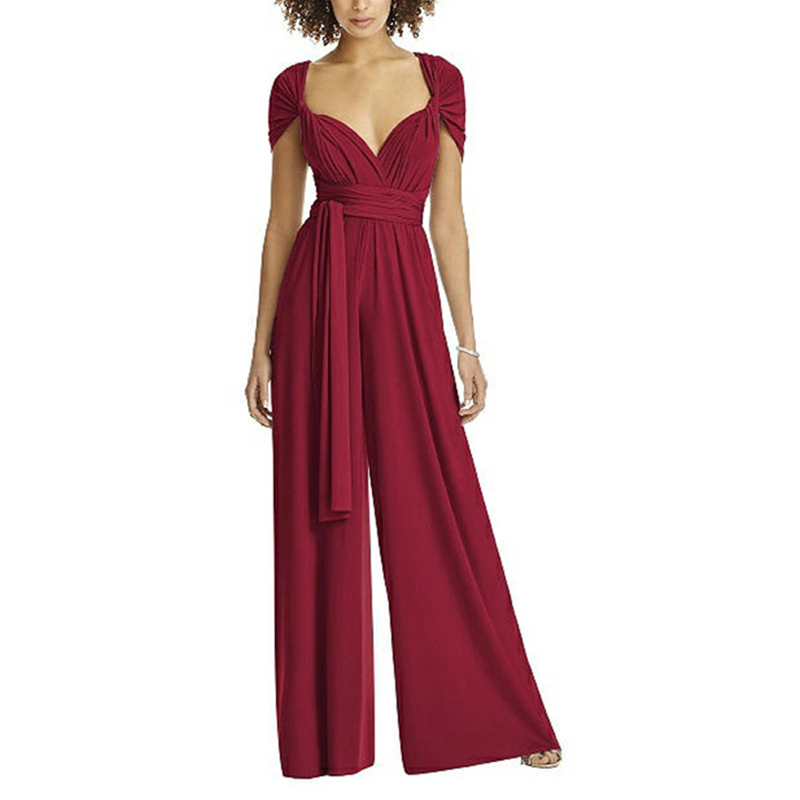 Women Summer V-Neck Hanging Neck Wrapped Chest Vintage Solid Color Backless Loose Wide Leg Jumpsuit Red  Jumpsuit