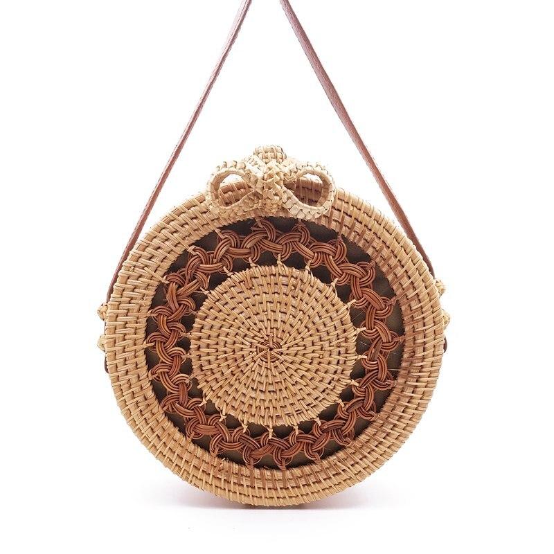 Round Style Straw Bag Women Summer Rattan Bag Handmade Messenger Shoulder Bag Beach Circle Bohemia Crossbody Bag G